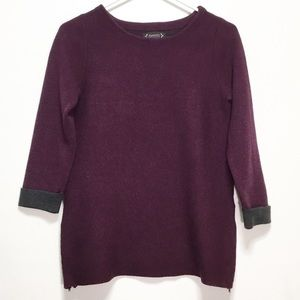Nanette LePore Gray & Pink Wool Sweater